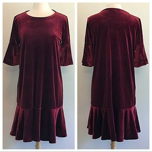 Halogen Dresses - Halogen Burgundy Velvet Dress